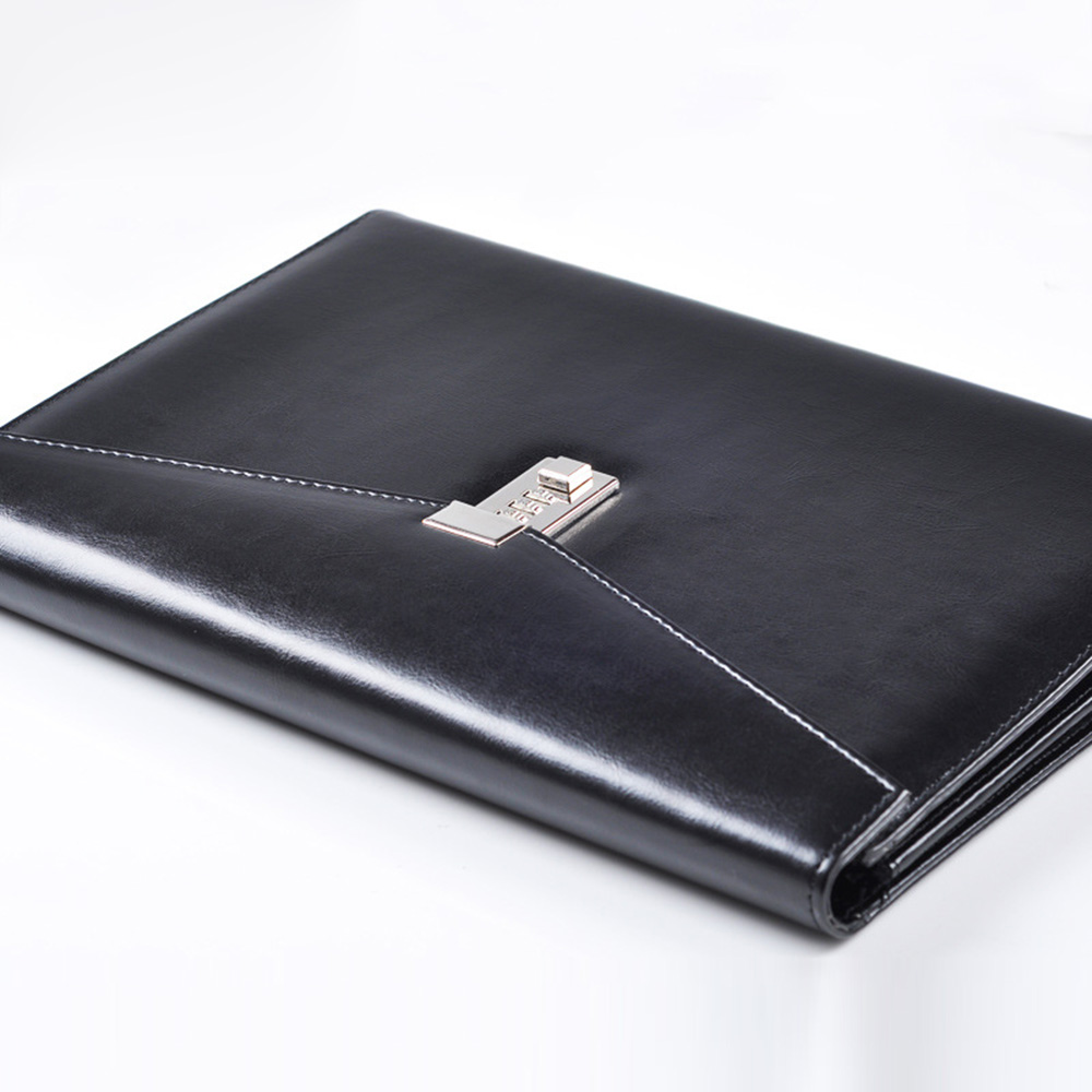 A4 Document File Folder with Lock Padfolio Fichario Password Briefcase Organzier Executive Cabinet PU Leather Office Manager Bag(China)