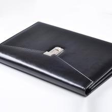купить A4 Document File Folder with Lock Padfolio Fichario Password Briefcase Organzier Executive Cabinet PU Leather Office Manager Bag дешево