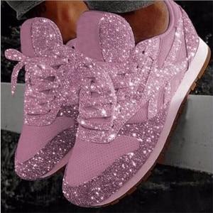 Image 4 - Kadın gündelik ayakkabı moda nefes kristal Sequins Lace Up düşük üst yuvarlak kadın koşu ayakkabıları Bling Scarpe Donna