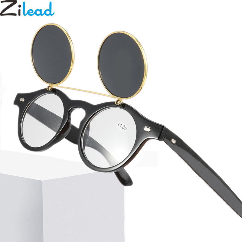 Zilead Retro Round Flip Up Sun Reading Glasses Alloy Sunglasses Prebyopia Spectacles Men Women Hyperopia Eyeglasses Eyewear