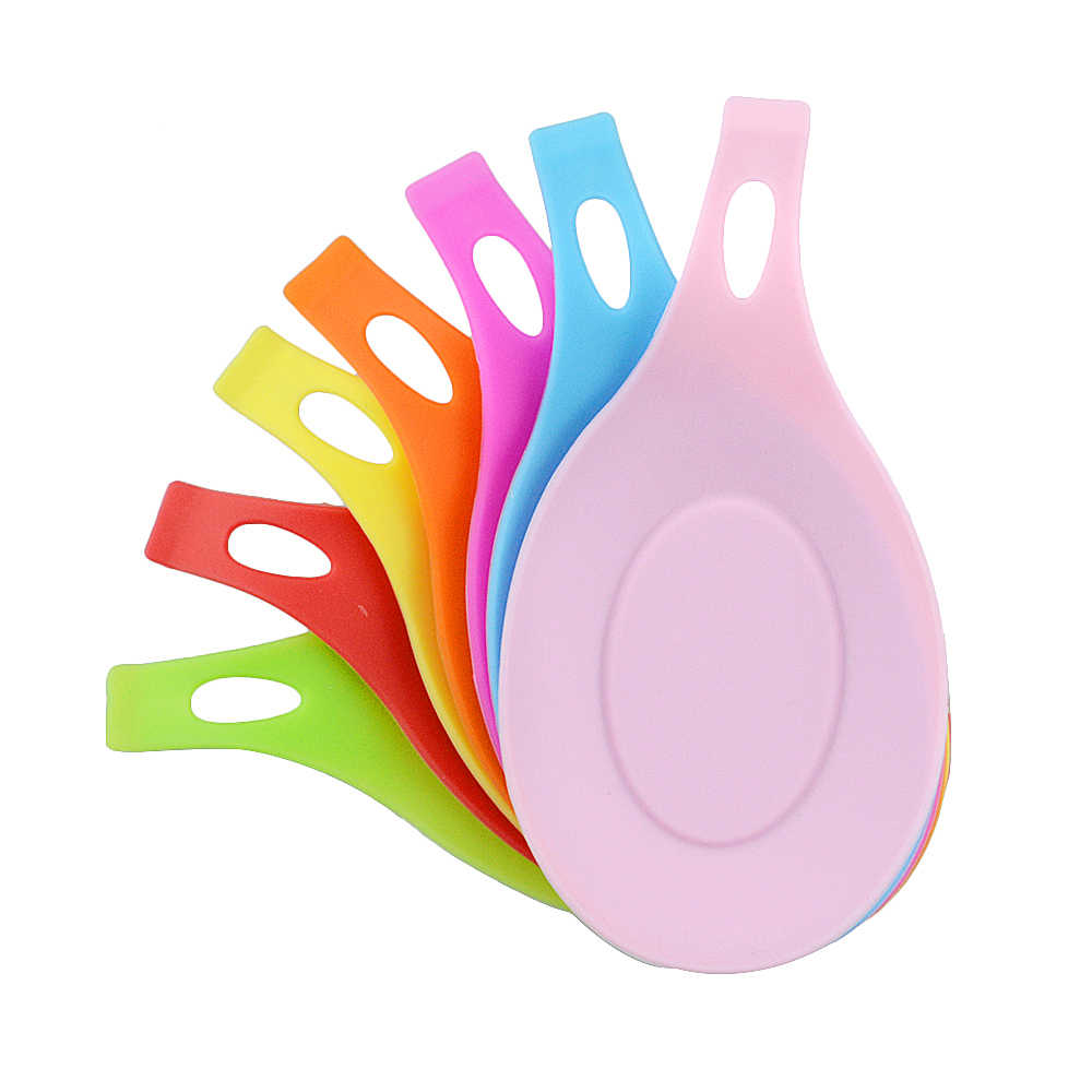 1Pcs Silikon Isolasi Sendok Istirahat Tahan Panas Minuman Coaster Tray Sendok Pad Makan Tikar Pot Pemegang Dapur Aksesoris