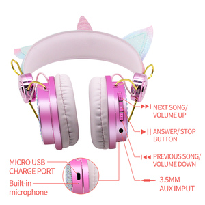 Image 5 - 귀여운 유니콘 블루투스 5.0 헤드폰 무선 여자 아이 만화 스테레오 헤드셋 내장 마이크 전화 게이머 이어폰 선물
