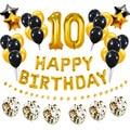 Шары из фольги цифры 10 10 лет, украшения для вечеринки в честь Дня Рождения, аксессуары для юбилея, золотистые, черные, для мальчиков и девочек...