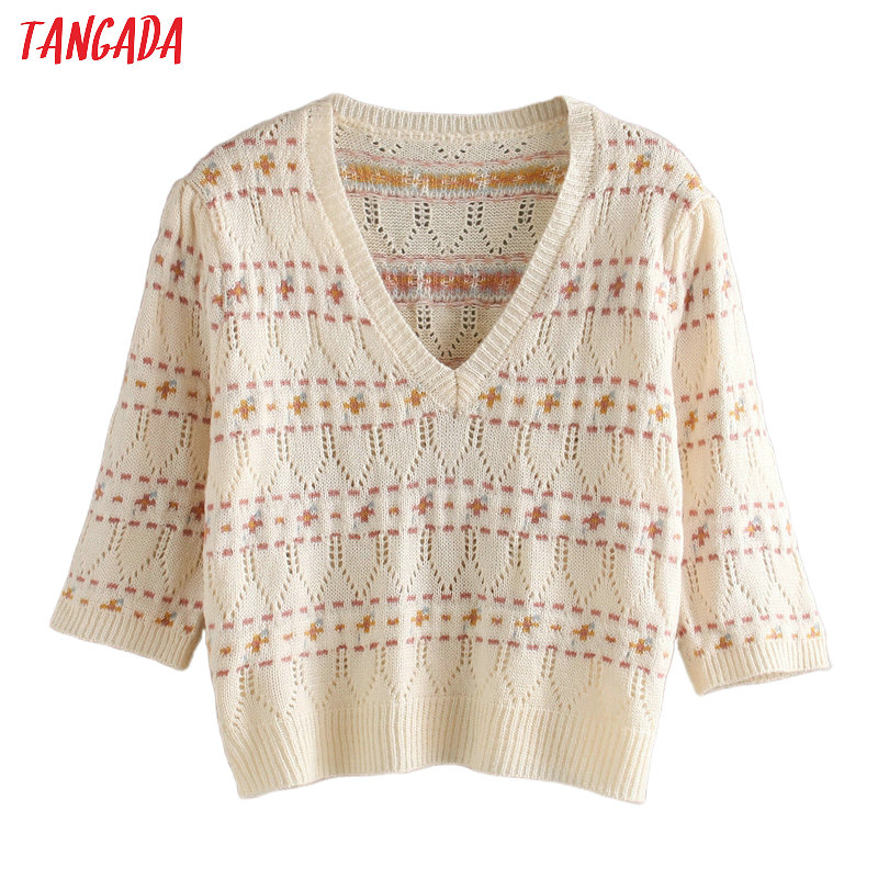 Tangada Korea Chic Women Sweet Emboridery Hole Spring Sweater Vintage Ladies Sweet Knitted Jumper Tops 3L12