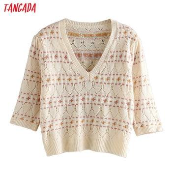 Tangada Korea Chic Women Sweet Emboridery Hole Spring Sweater Vintage Ladies Sweet Knitted Jumper Tops 3L12