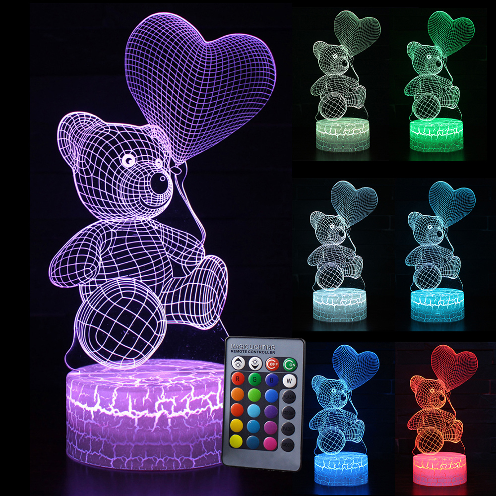 Kid Light Night 3D LED Night Light Creative Table Bedside Lamp Romantic Heart Bear Light Kids Gril Home Decoration Gift D30