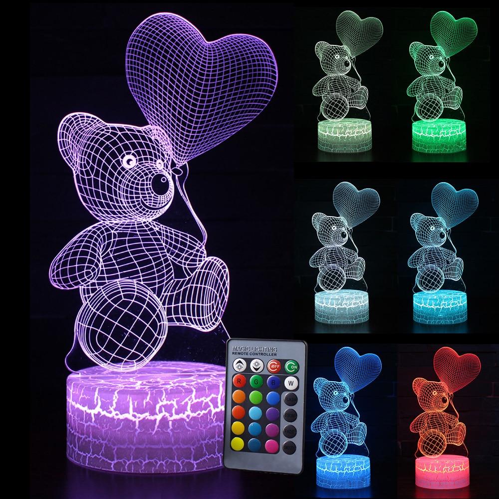 Kid Light Night 3D LED Night Light Creative Table Bedside Lamp Romantic Heart Bear Light Kids Gril Home Decoration Gift D30