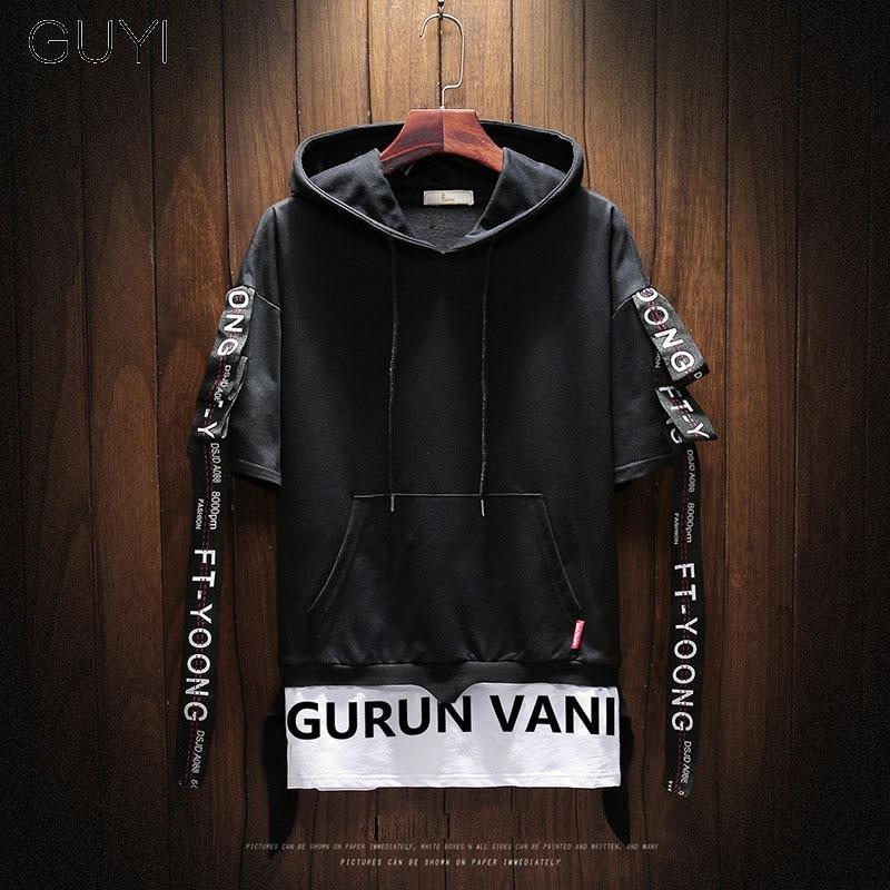 Black Hooded Fake Two Pieces Hoodies Sweatshirts Men Short Sleeve Drawstring Letter Ribbons Pullover Casual Hip Hop Streetwear