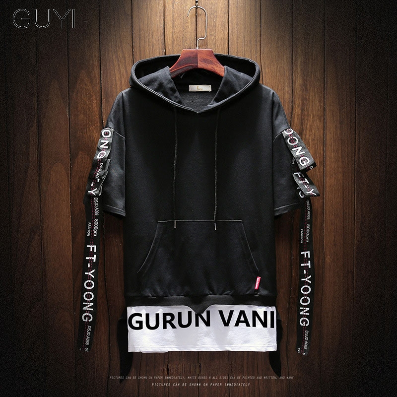 GUYI Black Hooded Fake Two Pieces Hoodies Men Long Sleeve Drawstring White Letter Pullover Fashion Off Sport Hip Hop Streetwear