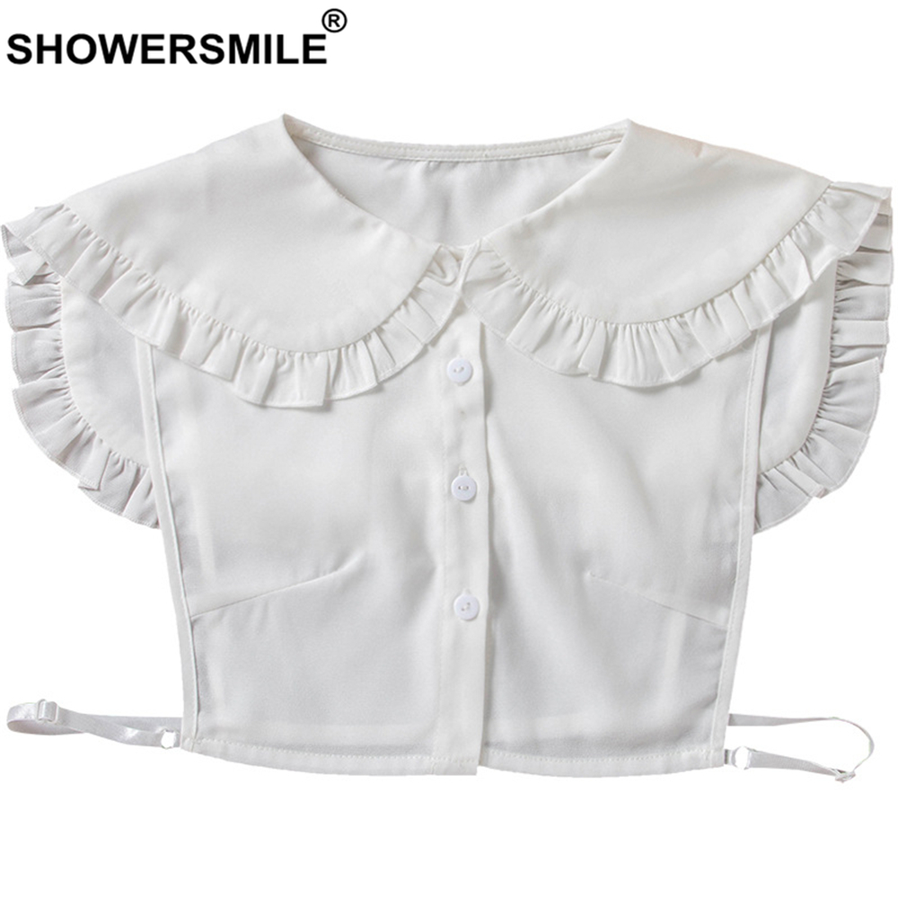 SHOWERSMILE Detachable Peter Pan Collar Women Cute White Fake Collar Chiffon Removable Collar Ladies Accessories