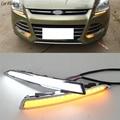 1 пара для Ford Kuga Escape 2014 2015 2016 2017 дневной ходовой светильник DRL светодиодный противотуманный фонарь крышка с желтыми функциями сигнала поворо...