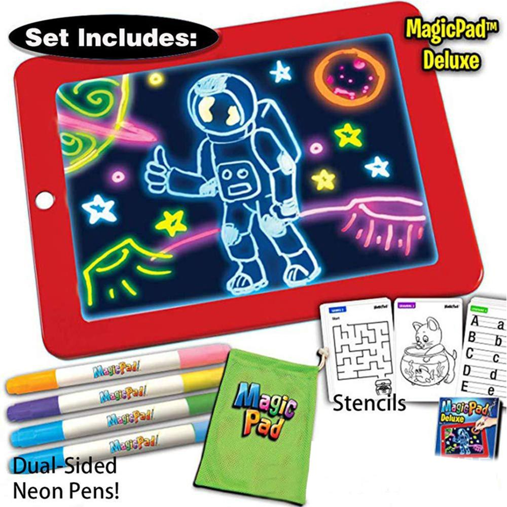 3D Magic Drawing Pad LED Light Luminous Board Intellectual Developmen Toy Children Painting Learning Tool