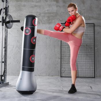 Bokserski worek treningowy bokserski Muay Thai nadmuchiwany Tumbler dekompresyjny worek z piaskiem dla dziecka dorosły przyrząd szkoleniowy z rdzeniem siłowym tanie i dobre opinie VKTECH CN (pochodzenie) Kategoria z worków z piaskiem 8 lat Inflatable Boxing Bag use more smoothly Silver Black Red