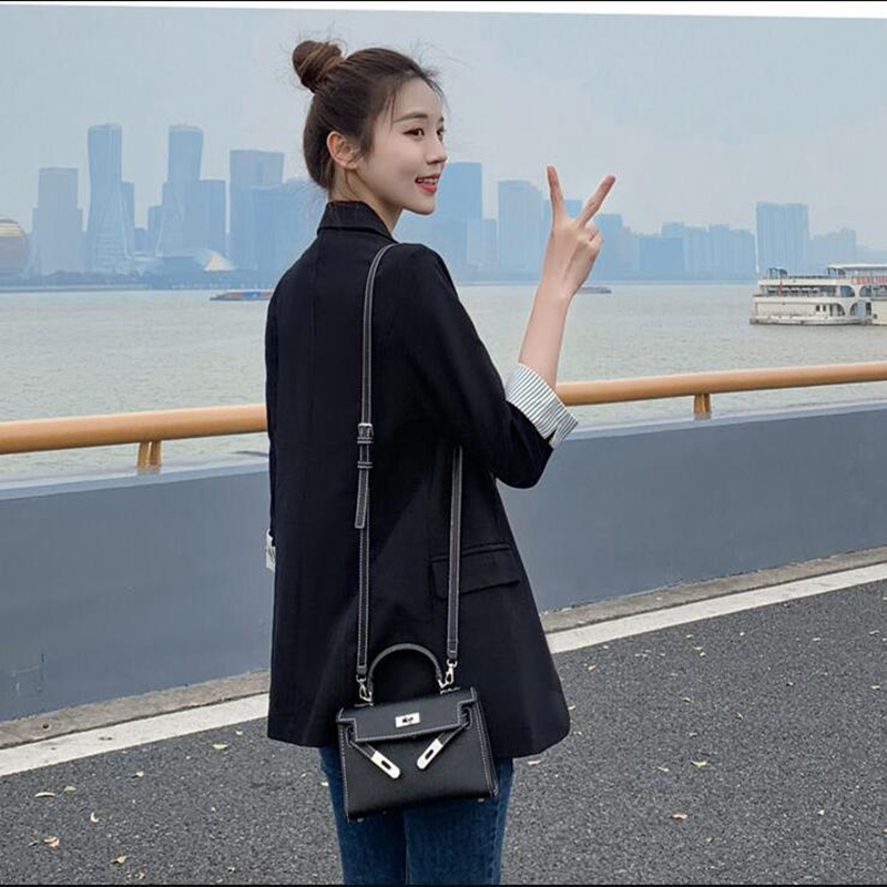 Small suit jacket female black cropped sleeves 2020 spring autumn casual slim slimming suit jacket women