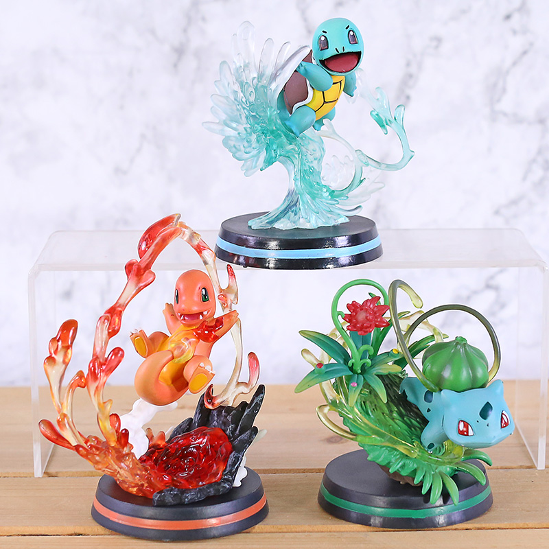 Cartoon Anime Monster Center Squirtle Bulbasaur Charmander Toy GK Statue Action Figure Collectible Model Toys Gifts