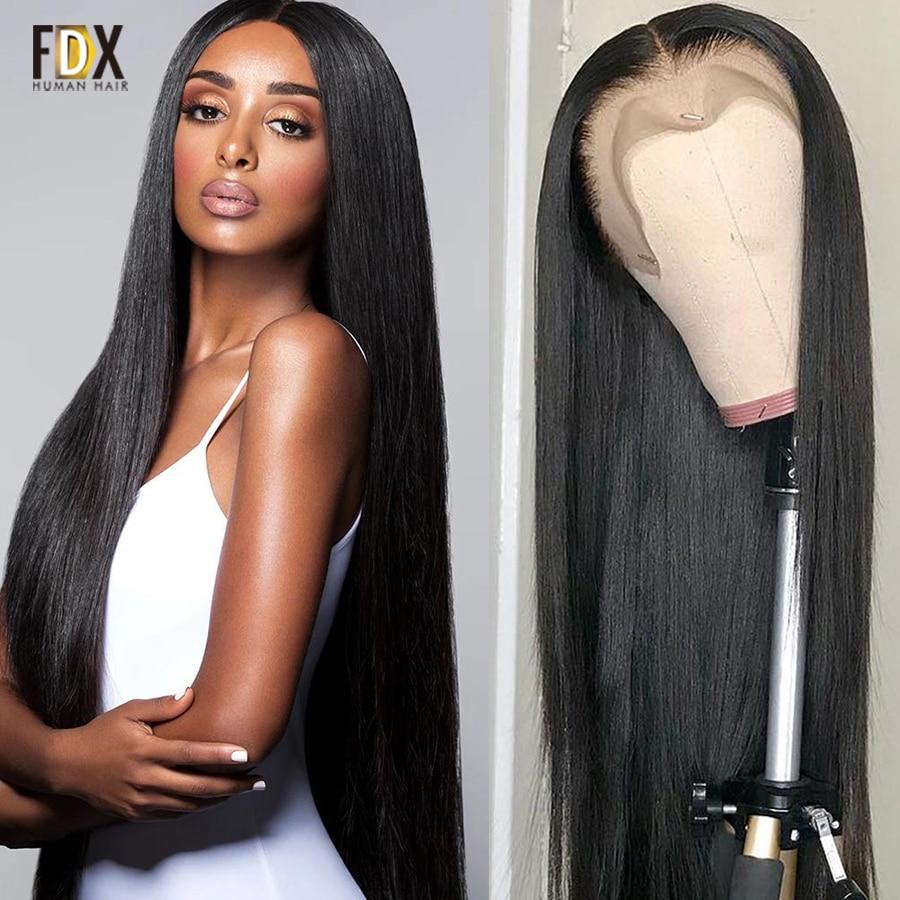 Парик HD прозрачный на сетке 13x6, парик из человеческих волос на сетке спереди FDX 4x4 5x5 6x6, парик на сетке, бразильский прямой парик без поврежден...