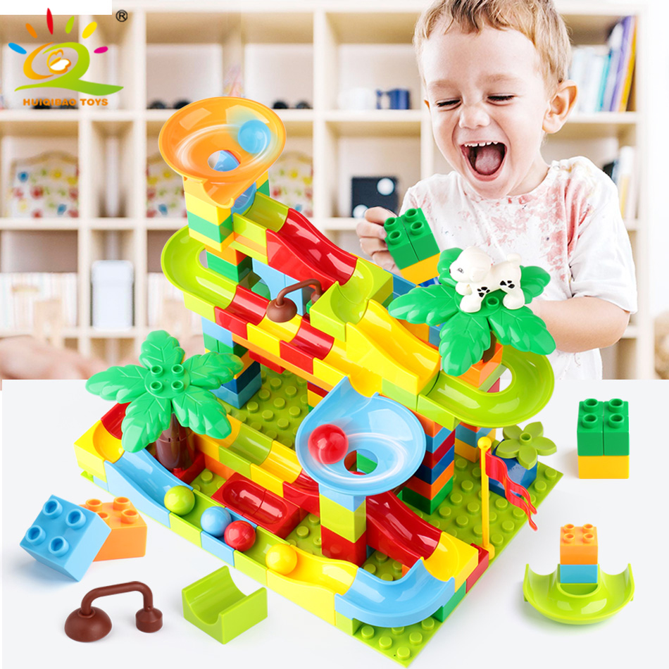 52-151pcs Marble Race Run DIY Maze Balls Building Blocks Compatible Legoingly Duploed Funnel Slide Big Bricks Educational Toys