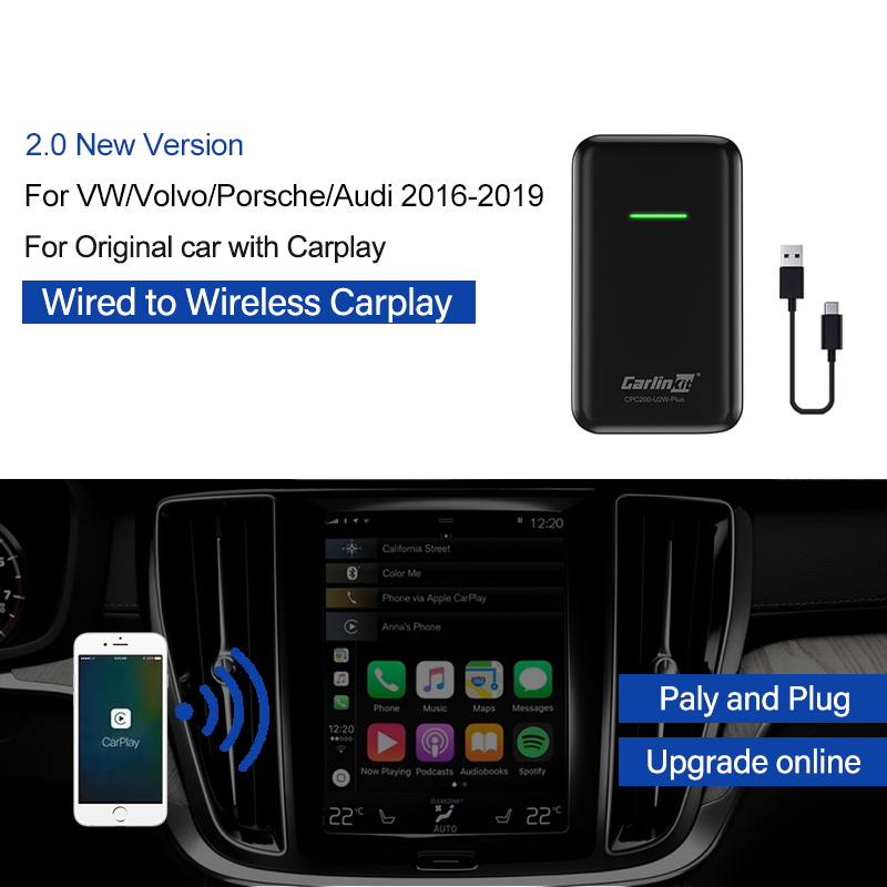 Carlinkit 2.0 Version Wireless Carplay Adapter Dongle For Benz Audi VW Original Car Has Wired Carplay Built-in Wired To Wireless