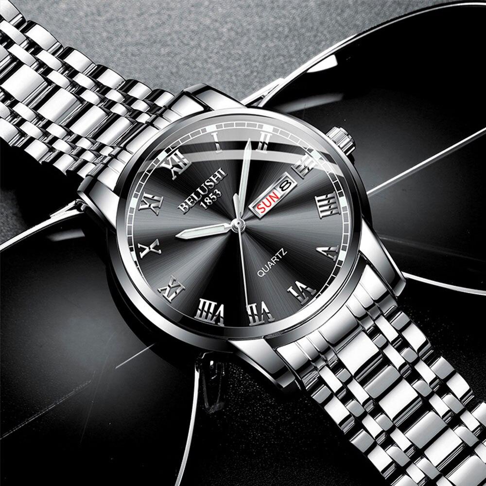 BELUSHI Men Watches Top Brand Luxury Full Steel Waterproof Quartz Watch Men Fashion Chronograph Male Sport Military Wrist Watch