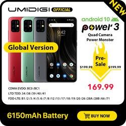 Umidigi power 3 android 10 48mp quad ai câmera 6150 mah 6.53