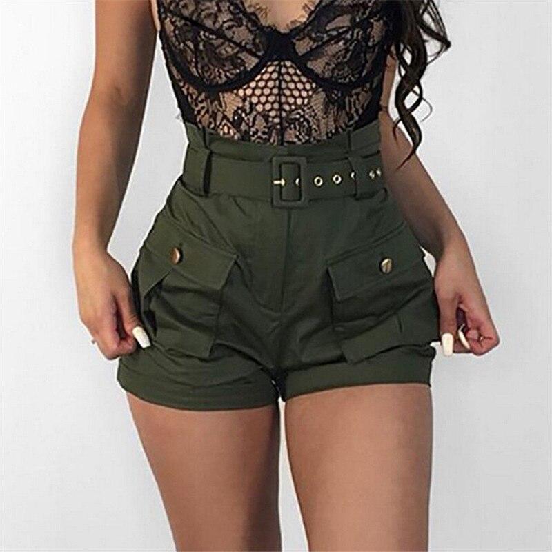 Casual Women Short Pants High Waist Summer Green Belt Shorts