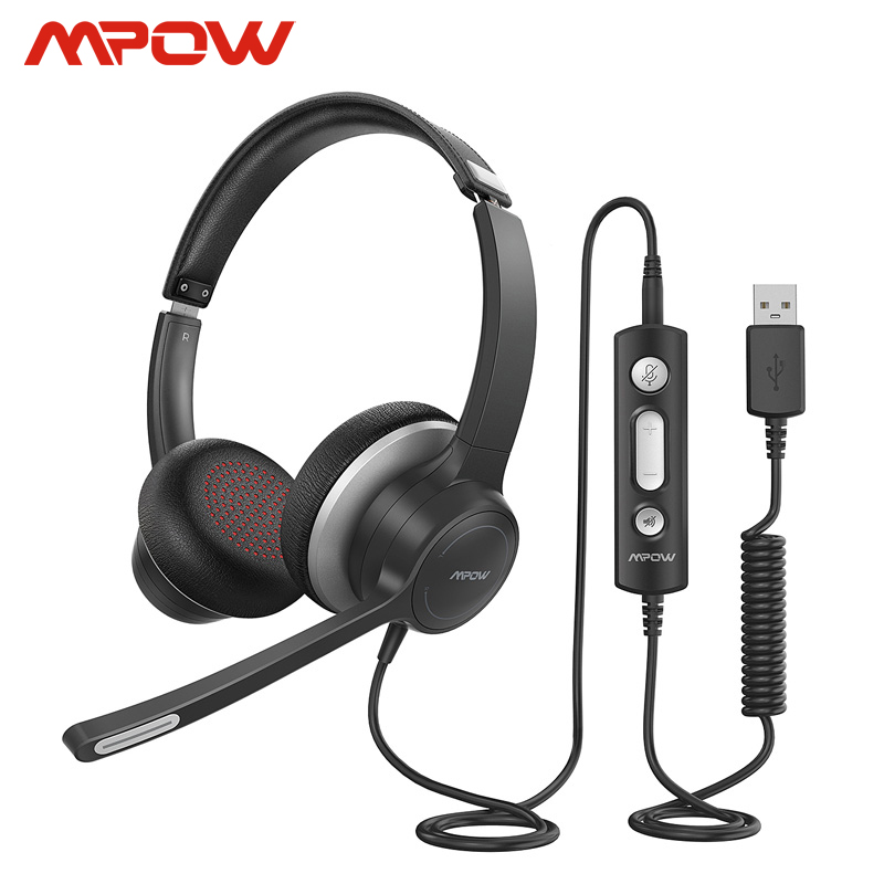 Mpow 328 HC6 Lighhtweight USB Headset  3 5mm Computer Headset with Microphone In-line Control For Call Center Skype PC Cellphone