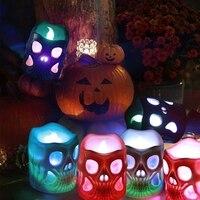 Luces LED de Halloween  luces de vela esqueleto 3D operadas por batería  velas coloridas LED falsas para Halloween H   -