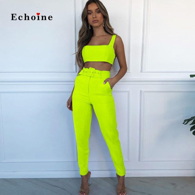 Echoine Women Two Piece Set Sexy Crop Tops Long Sleeve Pocket Belt Casual Street Suit Long Pencil Pants Sportswear Female Outfit