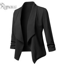 Romacci Frauen Feste Blazer Strickjacke Mantel blazer candy farbe und jacken Geraffte Asymmetrische Casual Business Anzug Outwear 2020