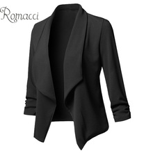 Romacci Women Solid Blazers Cardigan Coat blazer candy color and jackets Ruched Asymmetrical Casual Business Suit Outwear 2020