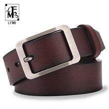 [LFMB] cinturón de cuero para hombres, hebilla de pin para hombres, cinturones de cuero genuino de vaca para hombres, cinturones de hombre de alta calidad de 130cm