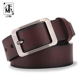 [LFMB]Men's belt leather belt men pin buckle cow genuine leather belts for men 130cm high quality mens belt cinturones hombre(China)
