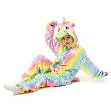 Одежда для маленьких детей в виде радужного единорога, Пижама Kigurumi для детей «Стич», «панда» для детей рисунок «Hello Kitty» животного, единорог, комбинезоны для девочек