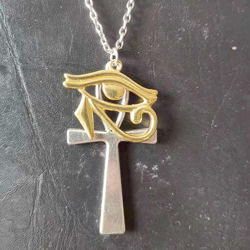 Frauen Mode Ägypten Anhänger Gold Halskette Vintage Silber Horus Auge Kreuz Halsketten Geschenk Retro Kette Schmuck Halsband naszyjnik