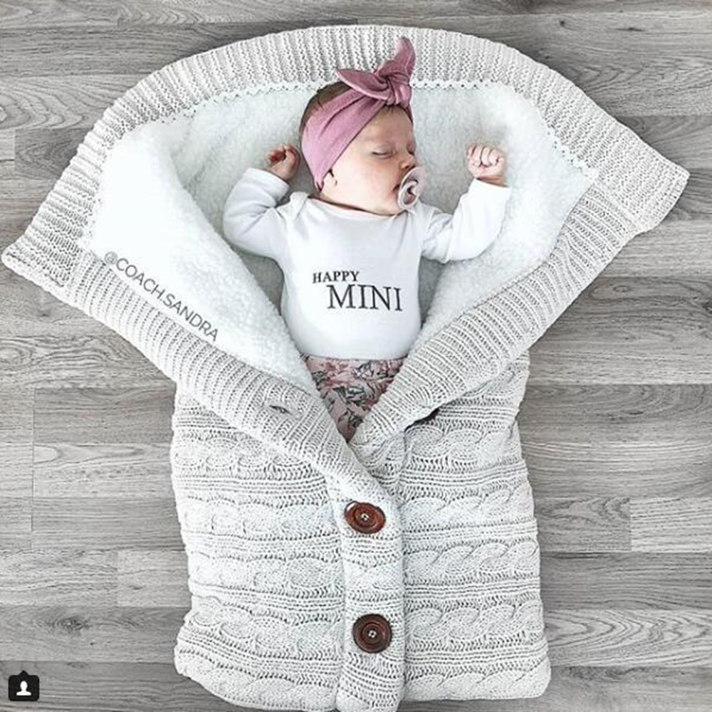 Newborns Baby Blanket Soft Sleeping Bag Cotton Footmuff Knitting Envelope Infant Warm Wrap Sleep Sacks Stroller Swaddling