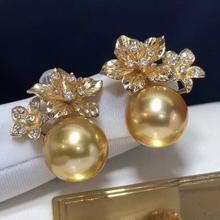 Fine Jewelry 1103 Pure 14 K Gold Natural Ocean Golden Pearls 11 10mm Stud Earrings for Women Fine Pearl Earrings