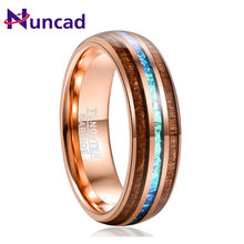 NUNCAD Wood Tungsten Carbide Ring For Men 6MM Rose Gold Acacia Imitation Opal Dome tungsten Steel Ring Anillo Hombre(China)