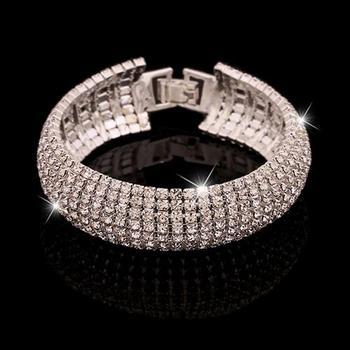 HOT SALES!!!New Arrival Women Roman Style Wide Bangle Rhinestone Bracelet Wedding Party Jewelry Gift Wholesale Dropshipping