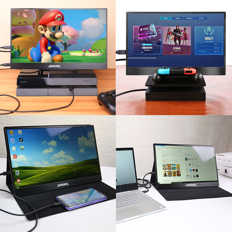 Monitor portátil 15,6 LED USB tipo C monitor de juegos Hdmi pantalla HD ips 1080p para teléfono portátil PS4 interruptor Xbox con funda - 2