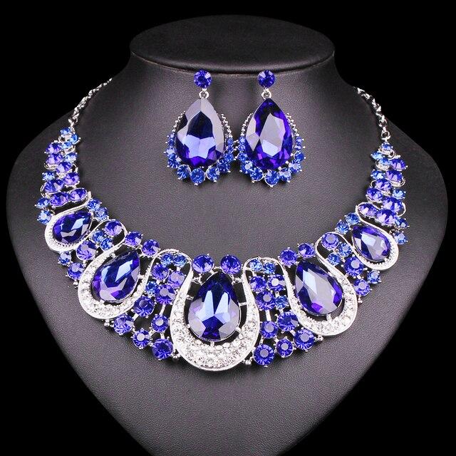 Mode argent plaqué indien cristal déclaration collier goutte boucles doreilles ensemble de bijoux de mariée ensembles accessoires de fête de mariage
