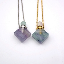 natural prismatic Shaped Healing Crystal Quartz necklace Fluorite gems stone Perfume Bottle Pendant  Essential oils diffuser rhodonite perfume bottle pendant chakra natural gems stone connector magical medicine bottle pink aroma oil diffuser charm