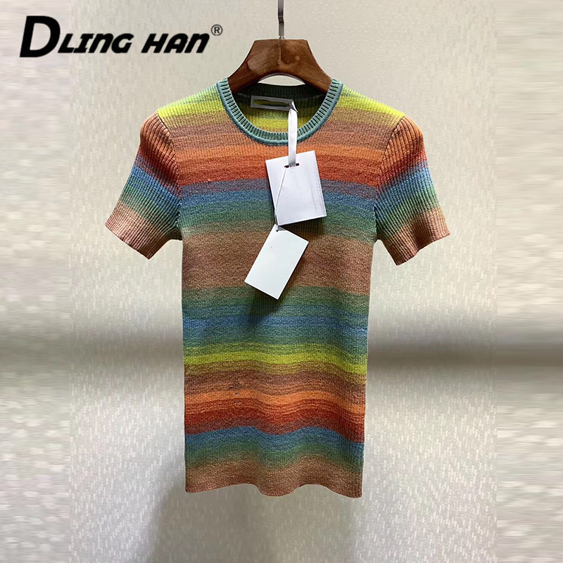 LINGHAN Fashion Rainbow Striped Knitting Wool Sweater T-shirt All-match Embroidery Slim Tops Designer Spring Summer New