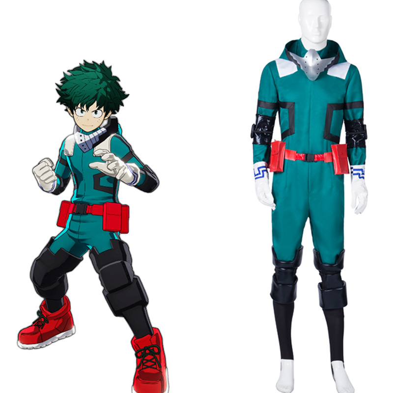 ANIME  Izuku Midoriya Jumpsuits Cosplay Costume Hair Izuku Midoriya Deku Wigs Cartoon shoes