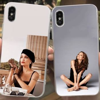 Angelina Jolie Phone Case Xr 7 8 PLUS SE 2020 For Iphone 11pro Case Original Apple Cover Clear Shell For Iphone 12Pro Max image