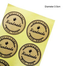 100 Pcs/lot Vintage Handmade With Love Sticker Kraft Paper Stickers Label DIY Hand Made For Gift Cake Baking Sealing Stickers 120 pcs lot cute long hand made with love kraft paper seal sticker for handmade products baking products sealing sticker label