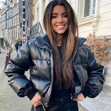 CP Winter gruba ciepła, krótka parki moda damska czarne PU kurtki skórzane damskie eleganckie kurtki z zamkiem błyskawicznym damskie