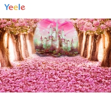 Yeele Wedding Photocall Blooming Trees Castle Petal Photography Backgrounds Customized Photographic Backdrops for Photo Studio laeacco halloween moon castle witch bat smog trees photography backgrounds customized photographic backdrops for photo studio