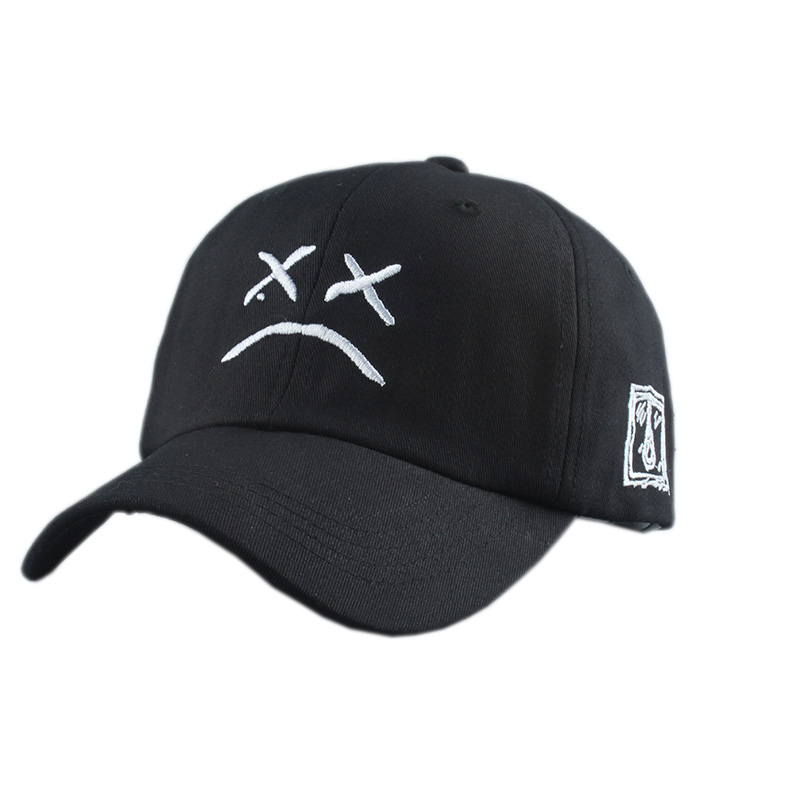 Lil Peep Dad Hat Embroidery 100% Cotton Baseball Cap Sad Face White Black Hat Xxxtentacion Golf Cap Hip Hop Snapback Women Men
