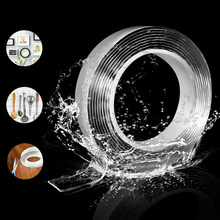 Casa reutilizável fita impermeável dupla face adesiva para cara super forte traceless nano cola gadget cinta doble cara