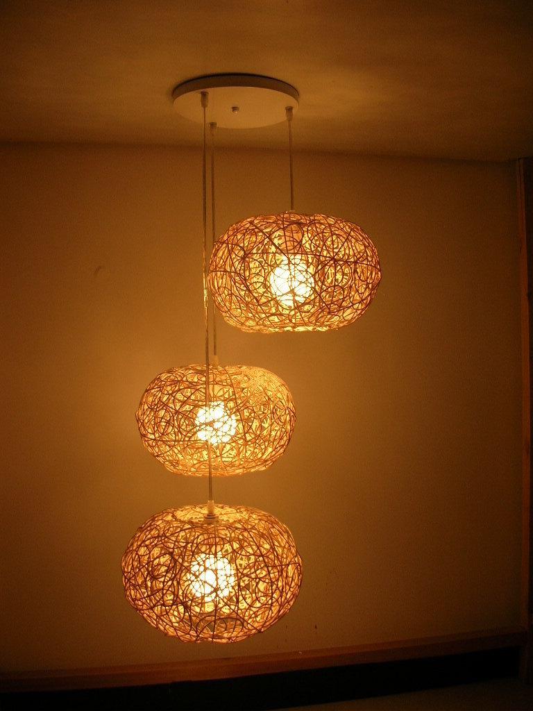 Garden Combination Rustic Rattan Knitted Pendant Light luminaire